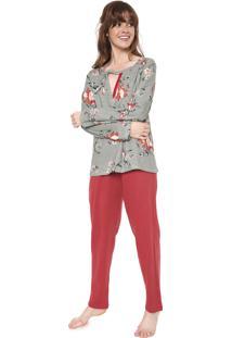 Pijama Pzama Recorte Off-White/Vermelho