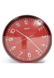 Relógio De Parede Vermelho E Branco 40Cm – Imporiente