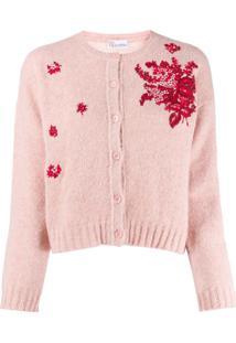 Red Valentino Cardigan Com Bordado Floral - Rosa
