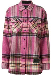 We11Done Oversized Checked Shirt Jacket - Rosa