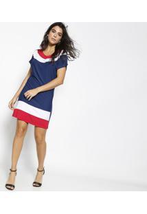 Vestido Com Listrado & Recorte- Azul Marinho & Branco