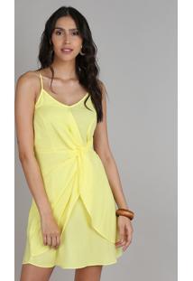 Vestido Feminino Curto Com Transpasse E Fenda Alças Finas Amarelo