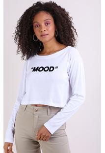 "Blusa Feminina Cropped Ampla ""Mood"" Manga Longa Decote Redondo Branco"