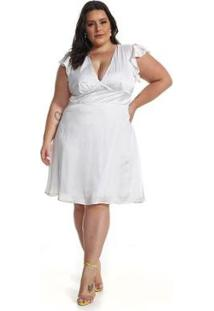 Vestido Plus Size Midi Lala Dubi - Feminino-Branco