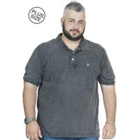 Camiseta Polo Plus Size Bigshirts Marmorizada - Preta 131bb3ff30ac8