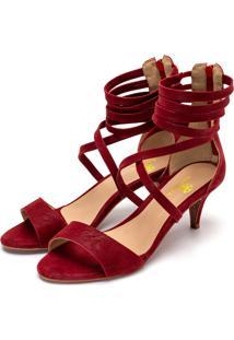 Sandália Salto Alto Meia Cana Em Nobucado Vermelho