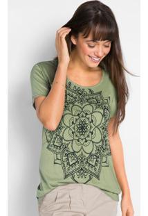 Blusa Com Estampa Localizada De Mandala Verde