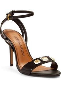Sandalia Salto Alto Rebite Personalizado Preto