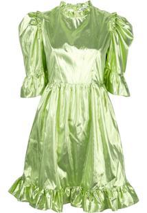 Batsheva Vestido Evasê Com Manga Sino - Verde