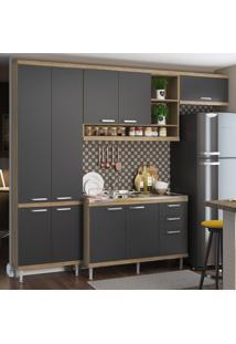 Cozinha Compacta Sicília 9 Portas 3 Gavetas Sicilia Premium Argila/Grafite - Multimóveis