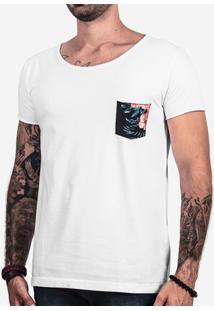 Camiseta Branca Bolso Floral Canoa 101691