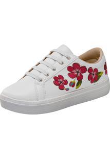 Tênis Lu Fashion Casual Branco Com Rosas