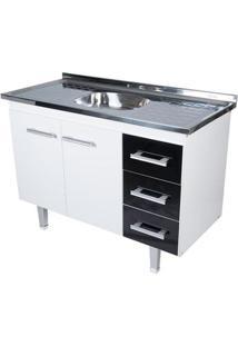 Gabinete De Cozinha New Milano 117,4X55Cm Branco E Preto Bonatto
