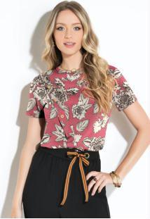 Blusa Floral Rosa Com Botões Decorativos