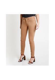 Calça De Sarja Feminina Super Skinny Cintura Média Com Zíper Na Barra