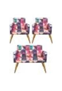 Conjunto Namoradeira Decorativa E 2 Poltronas Triângulos - Bela Casa Shop