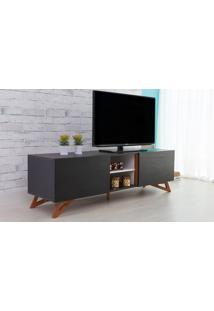 Rack Para Tv Preto Moderno Vintage Retrô Com 2 Portas Preta Freddie - 160X43,6X48,5 Cm