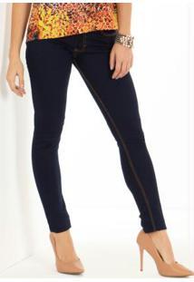 Calça Jeans Escuro Skinny Com Bolsos