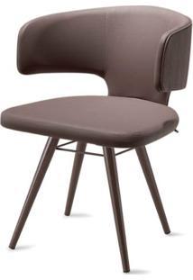 Cadeira Hug Assento Estofado Linho Trufa Com Base Tabaco - 46867 - Sun House