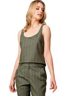 Regata Mx Fashion De Linho Listrada Leane Verde Militar