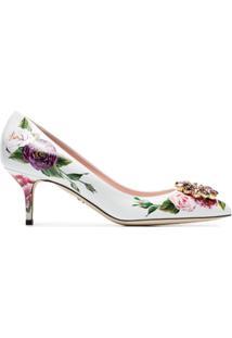 Dolce & Gabbana Scarpin Floral De Couro - Metálico
