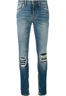 Saint Laurent Calça Jeans Com Detalhe Rasgado - Azul