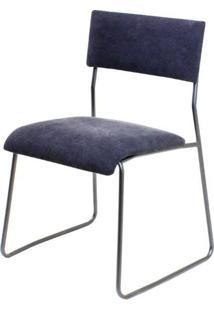 Cadeira Keeper Estofada Lona Preta Base Aco Bruto - 35653 Sun House