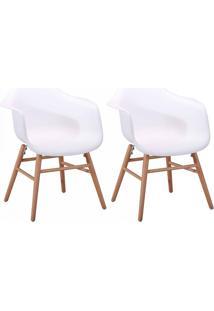Conjunto Com 2 Cadeiras Eames Jade Com Braços Branco