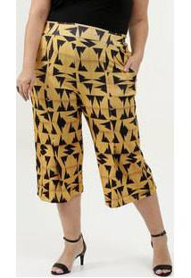 Calça Feminina Pantacourt Estampada Plus Size