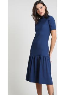 Vestido Feminino Mindset Midi Canelado Com Recorte Manga Curta Gola Alta Azul Marinho
