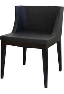 Cadeira Senhorita Tecido Preto Base Madeira Escura Ór Design
