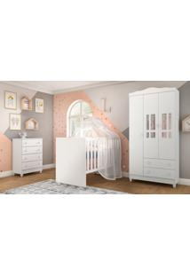 Dormitório Ariel Guarda Roupa 3 Portas/Cômoda Ariel/Berço Gabi Branco Carolina Baby - Tricae