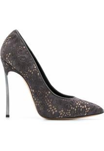 Casadei Sapato Com Recorte E Salto 130Mm - Cinza
