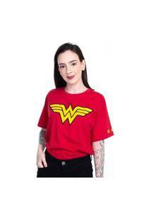 Camiseta Mulher Maravilha Logo Clássico Vermelho