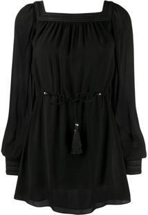 Saint Laurent Vestido Preto Com Decote Quadrado Preto
