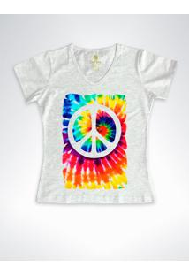 Camiseta Feminina Gola V Cool Tees Tie Dye Simbolo Da Paz Mescla - Cinza - Feminino - Algodã£O - Dafiti