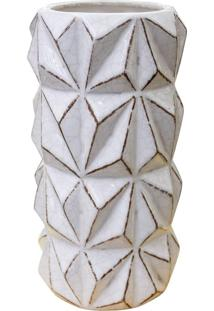 Vaso Geométrico Branco Em Cerâmica