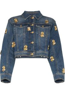 Moschino Jaqueta Jeans Cropped Com Aplicações - Azul