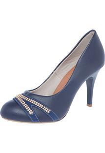 Scarpin Fiveblu Strass Azul-Marinho