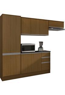 Cozinha Compacta Com 9 Portas E 2 Gavetas Paris Plus-Poliman - Carvalho