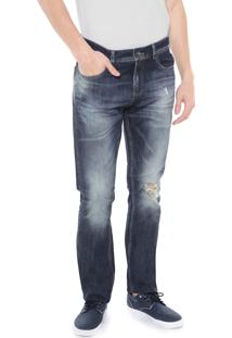 Calça Jeans Lacoste Regular Fit Azul