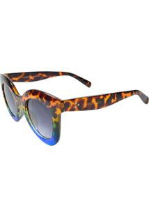 Óculos De Sol Mackage Acetato Feminino Oversize Redondo Retrô - Tarta Azul - Kanui