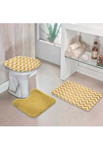 Jogo Tapetes Para Banheiro Chevron Gold