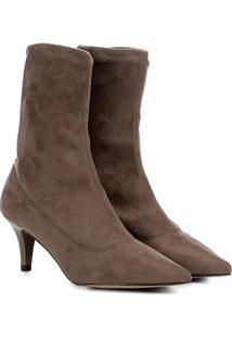 Bota Meia Cano Médio Shoestock Stretch Salto Fino Feminina - Feminino-Marrom