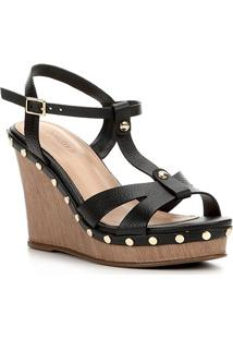 Sandália Anabela Shoestock Couro Tachas Feminina - Feminino-Preto