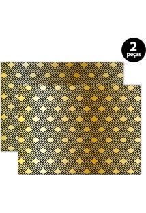 Jogo Americano Mdecore Geométrico 40X28Cm Amarelo 2Pçs