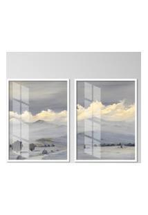Quadro 65X90Cm Andes Moldura Branca Sem Vidro Decorativo Interiores