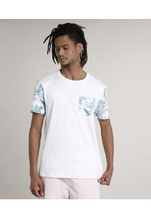 Camiseta Masculina Floral Manga Curta Gola Careca Branca