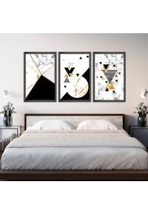 Quadro 60X120Cm Abstrato Escandinavo Coloridos Geométrico Triangulos Moldura Preta Sem Vidro - Mod: Oh5703