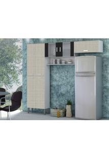 Cozinha Compacta Quartz 7 Portas Linho Cinza/Preto - Kits Paraná